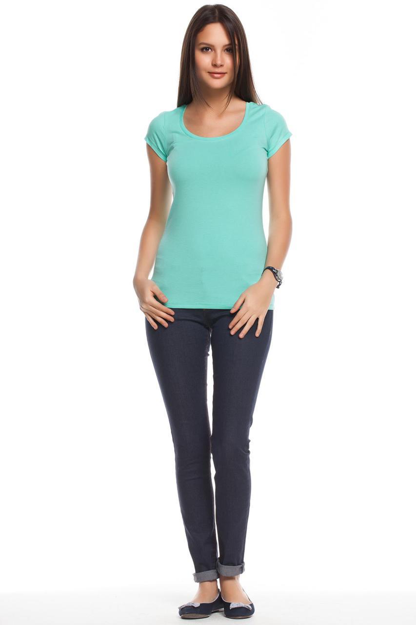 Голубая женская футболка De Facto / Де Факто с круглой горловиной