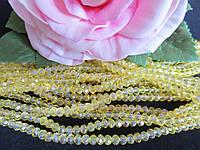 Бусины хрустальные 4х3 мм, рондель, 140-150 шт, цвет желтый (прозрачный)