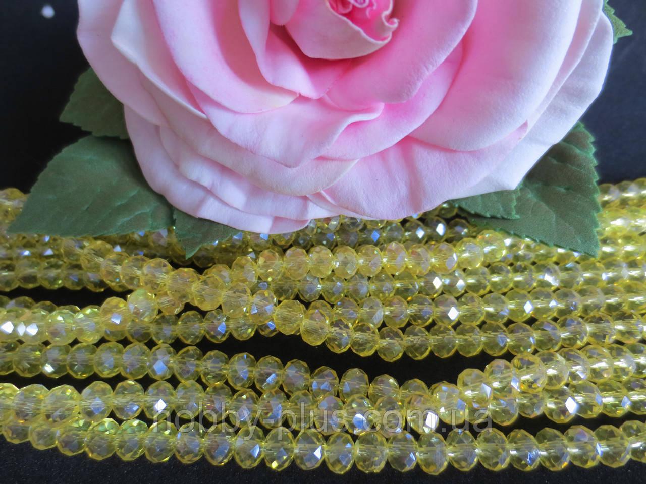 Бусины хрустальные 6х4 мм, рондель, 48-50 шт, цвет желтый (прозрачный)
