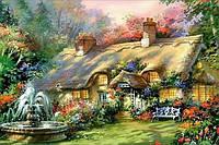 Алмазная вышивка 30*40 Сельский пейзаж дом с фонтаном квадратные алмазы, полное заполнение, фото 1