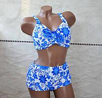 Большой размер 62, модный раздельный купальник для пышных женщин, белого цвета в синий цветочек
