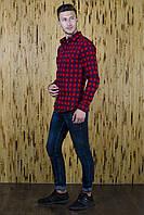 Рубашка приталенная RD09 красная клетка, фото 1