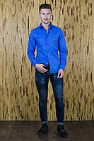 Рубашка приталенная ярко-синяя, фото 1
