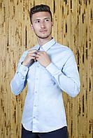 Рубашка стрейчевая голубая однотонная, фото 1