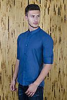 Рубашка мужская синий лен Воротник стойка, фото 1