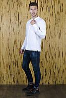 Рубашка мужская белая из льна Воротник стойка, фото 1