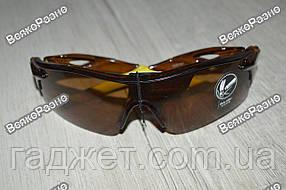 Спортивные солнцезащитные очки / Вело очки с коричневыми стеклами.