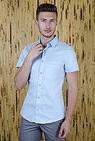 Рубашка с коротким рукавом голубая однотонная, фото 1