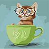 Картины по номерам Lovely kitten, 40х40см. (КНО4057)