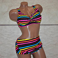 Большой размер 58, женский раздельный купальник для пышных женщин, разноцветную полоску