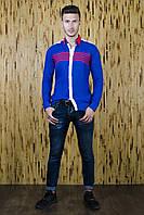Рубашка мужская синяя из льна в спортивном стиле