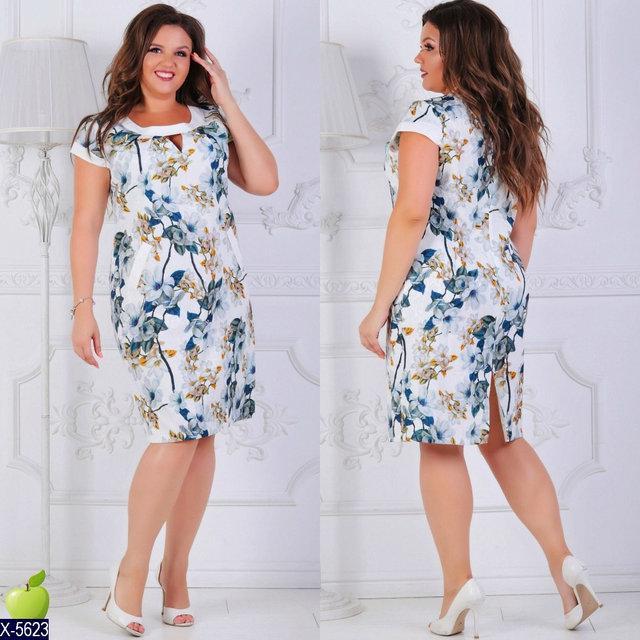 Платье летнеекотон-жаккард с цветочным рисунком Размер 52, 54, 56