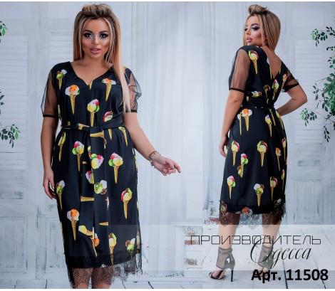 Платье стрейч-шелк Армани рукава из органзы и нежно французское кружево Премиум под заказ до 7 дней р. 46-60