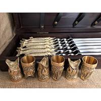 """Шампура подарочные """"Царский улов"""" с чарками в кейсе из натурального дерева бук, фото 1"""