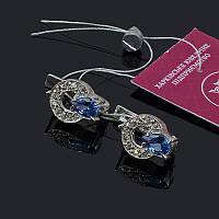 Изящные серебряные серьги с камнями, фото 1