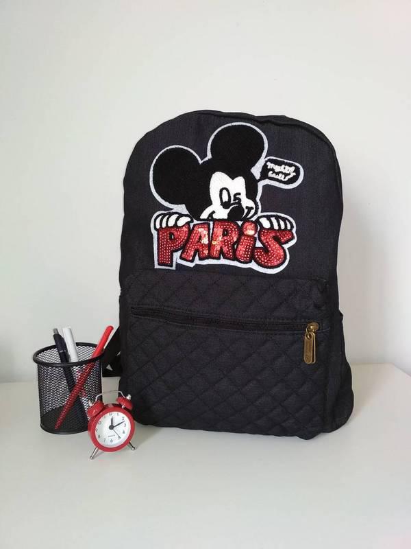Стеганый текстильный рюкзак для девочки черного цвета 40*28*15 см
