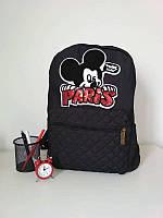Стеганый текстильный рюкзак для девочки черного цвета 40*28*15 см , фото 1