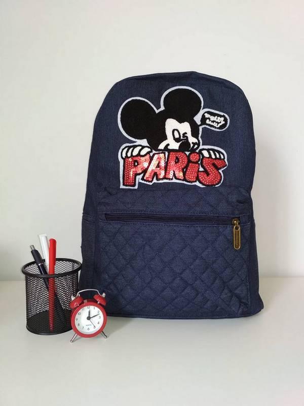 Текстильный рюкзак для девочки синего цвета 40*28*15 см