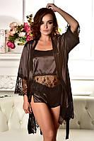 Комплект атласная пижама и халат Шоколад. Размеры от XS до XL. , фото 1