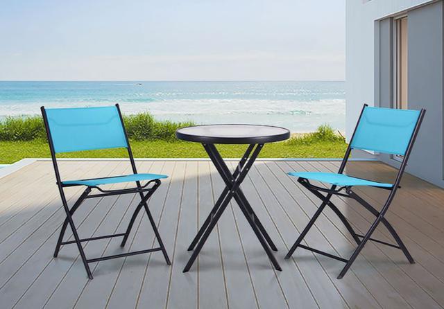 Стул Linda т.серый, голубой со столом Maya