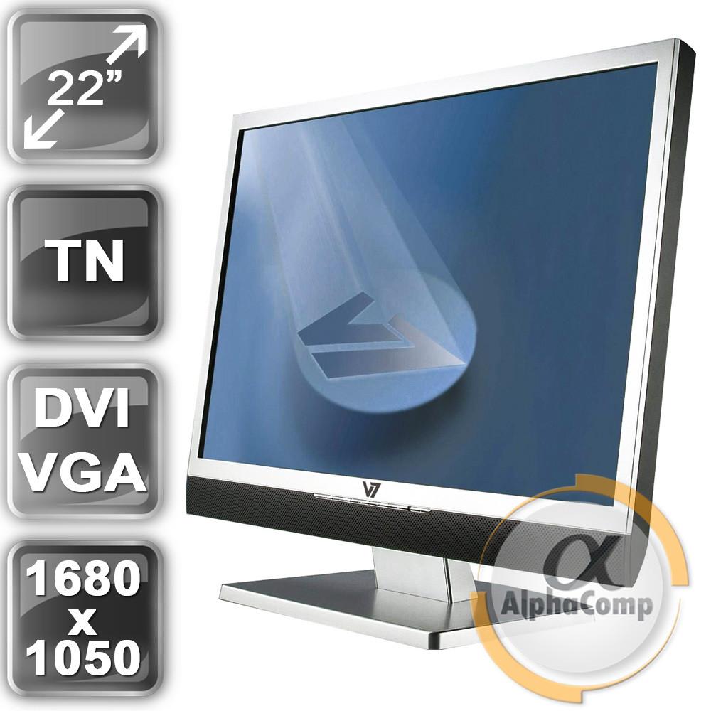 "Монитор 22"" V7 L22WD  (TN/16:10/1680x1050/VGA/DVI/колонки) class В БУ"