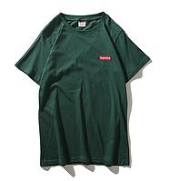 Футболка Supreme зелёная (суприм с маленьким логотипом мужская женская)