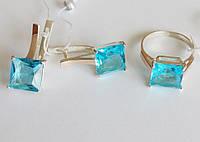 Серебряный комплект с золотом и голубым цирконием Бриз, фото 1