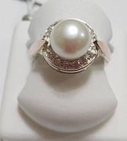 Кольцо Лунный жемчуг из серебра с золотом