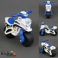 """Мотобайк (мотоцикл-толокар) """"Полиция"""", бело-голубой  с музыкой и световыми эффектами"""