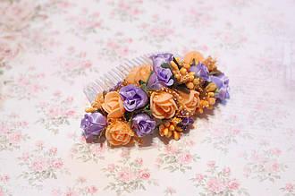 Гребень заколка / украшение /  гребешки для волос в прическу  оранжево-фиолетовый