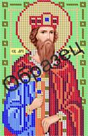 З-132 Схема для вышивки бисером на габардине  Св Мч Вячеслав . Арт. З-132