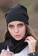 """Набор """"Шапка и шарф"""" (двойной трикотаж) черный, универсальный"""