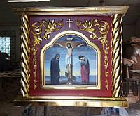 Облачение на престол вишня с позолотой 125х125см, фото 1