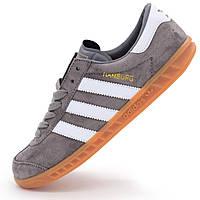 Кроссовки Adidas Hamburg серые - Натуральная замша - Топ качество! - Реплика р.(41, 43)
