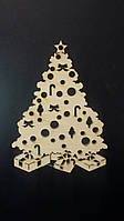 Заготовки для творчества - новогодние подвески из дерева, лазер, 9х6.5 см., 10/8 (цена за 1 шт. + 2 гр.)