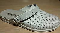 Сабо мужские белые кожаные медицинские рабочая обувь оптом, фото 1
