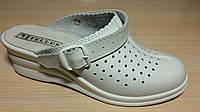 Сабо женские кожаные туфли белые кожаные оптом, фото 1