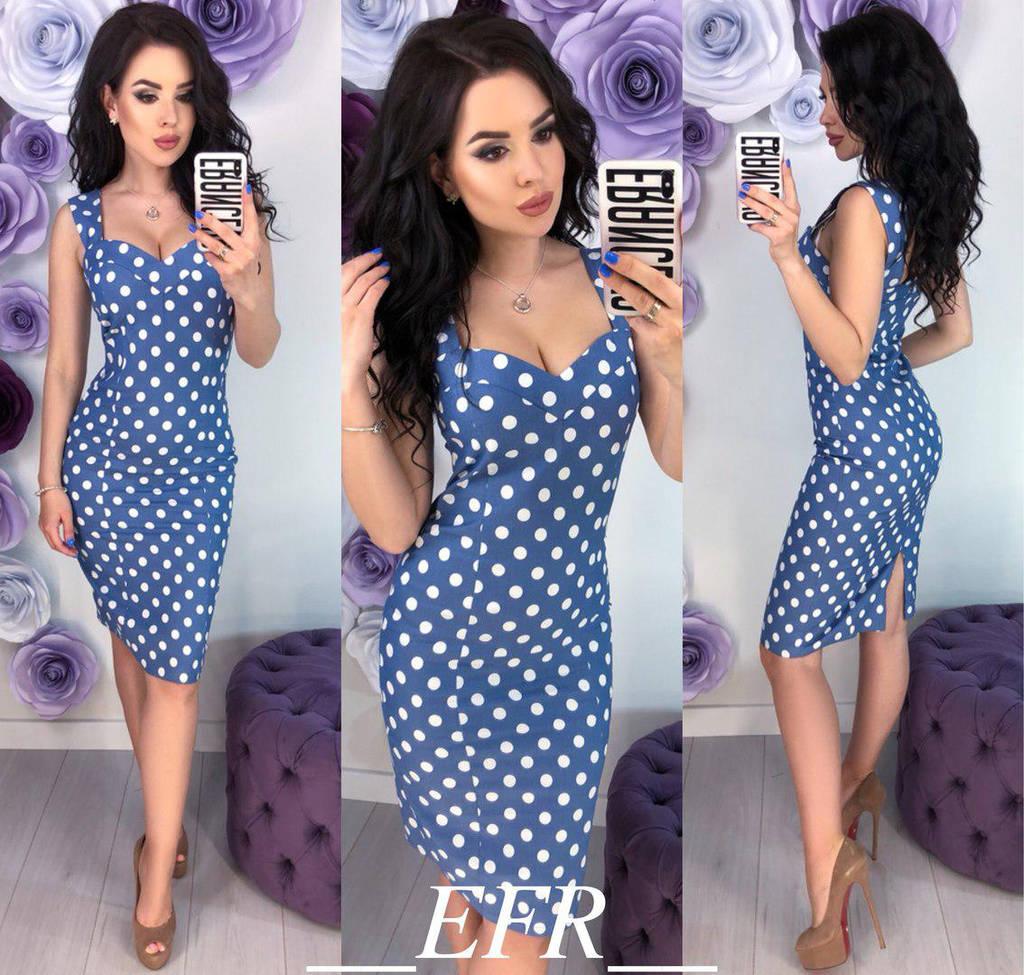 Приталенное летнее платье в горох  / 2 цвета арт 5973-204