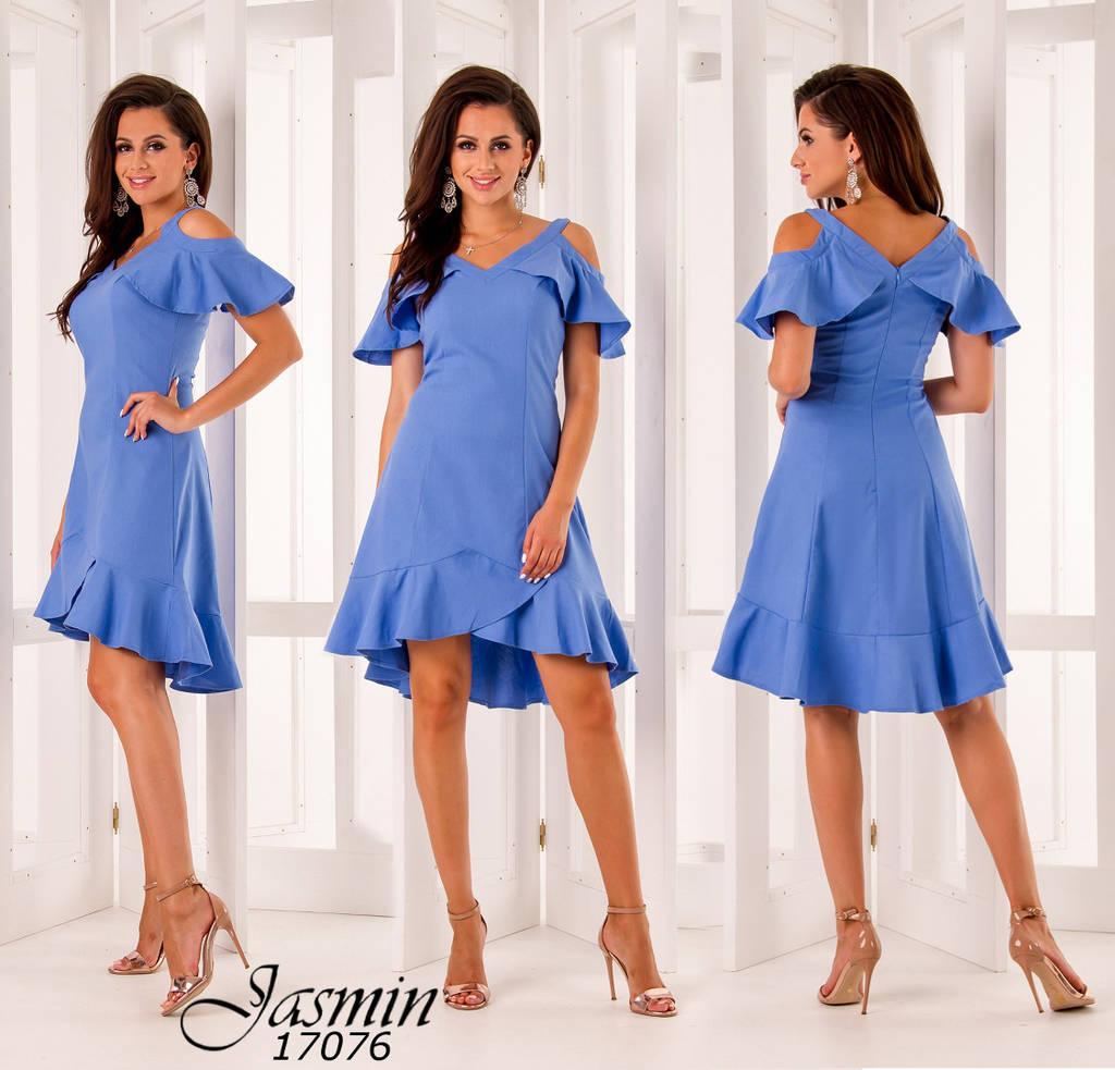 Платье с воланами на рукавах и юбке удлиненное сзади р-ры 44-50 / 2 цвета арт 5974-103