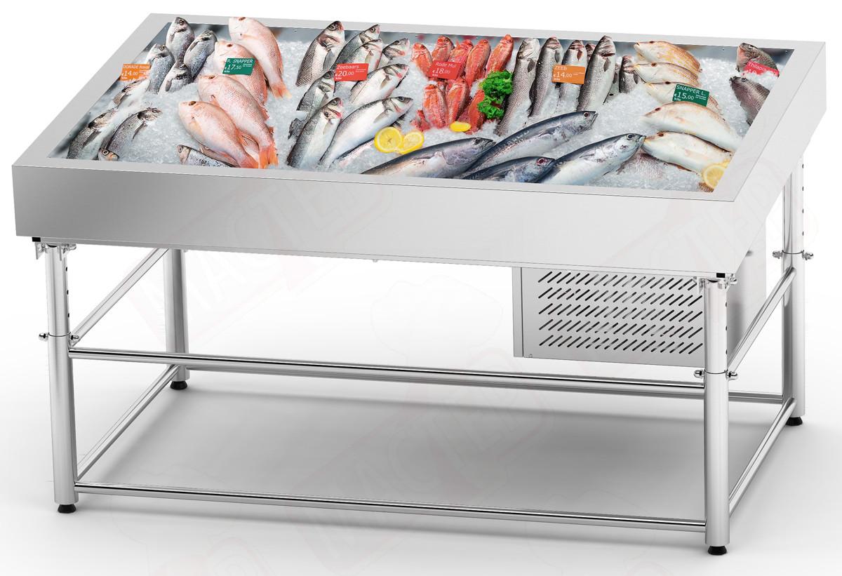 """Холодильная витрина """"рыба на льду""""  SDIC-1.3/1.0 (с охлаждением)"""