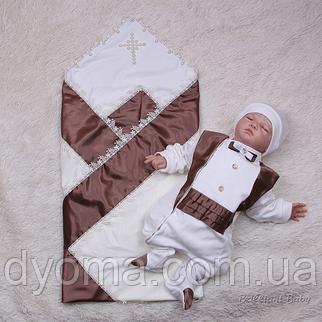 Набор для крестин Фрак+Жемчуг  (шоколад), фото 2