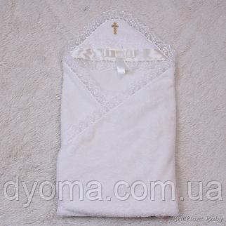 Крестильное махровое полотенце Бантик (айвори), фото 2