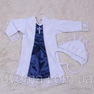 Крестильная рубашка с шапочкой Даниила (синий), фото 2