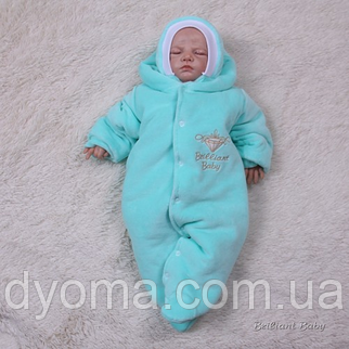 Утепленный человечек Brilliant Baby хлопковый подклад (бирюза), фото 2
