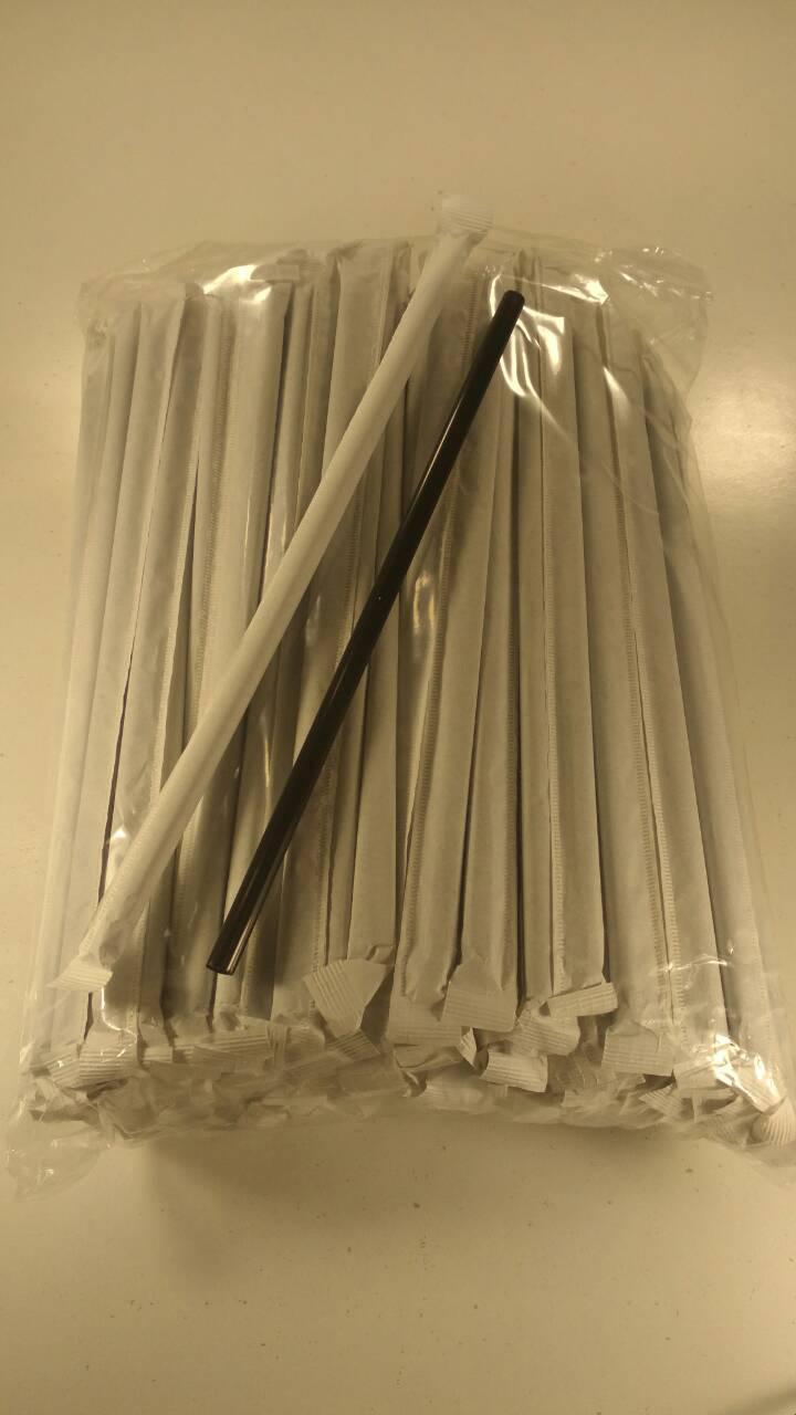 Трубочка d6.8-21см в индивид. упаковке Черная гофра  (200 шт)