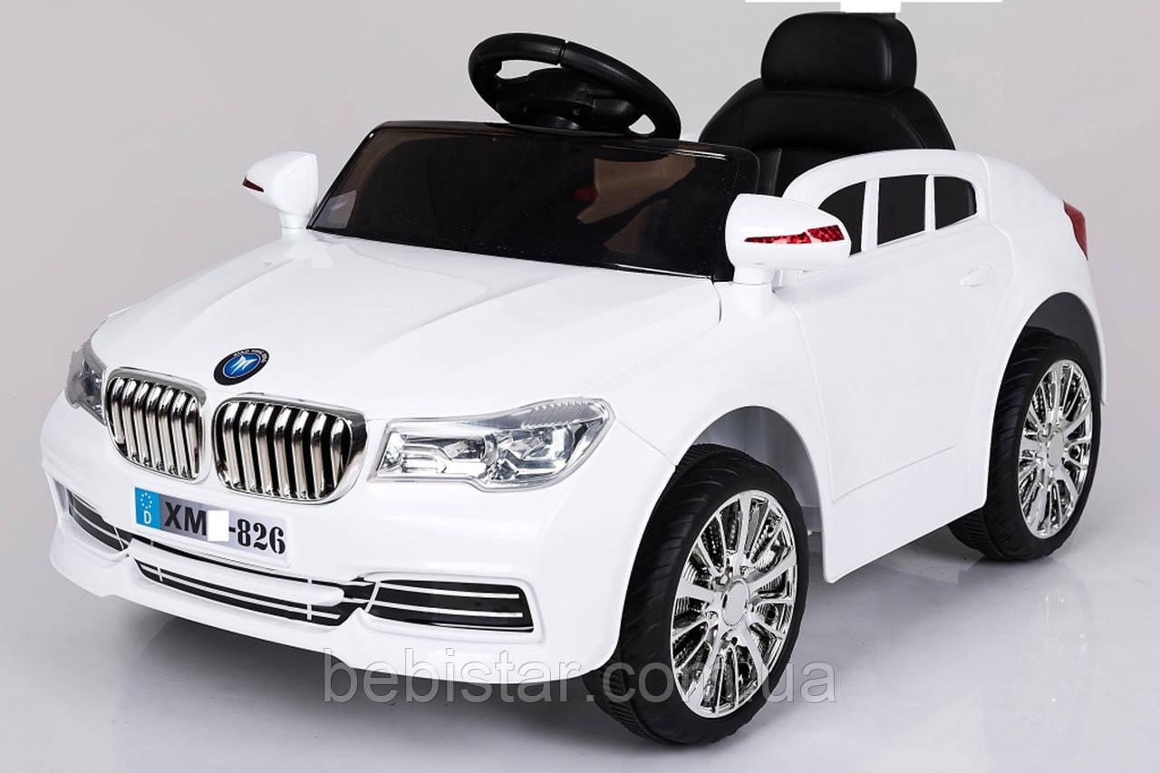 Электромобиль спорткар белый T-7612 WHITE для деток 3-8 лет с пультом с MP3