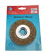 Щетка дисковая крацовка из рифленой проволоки 100х22 мм.