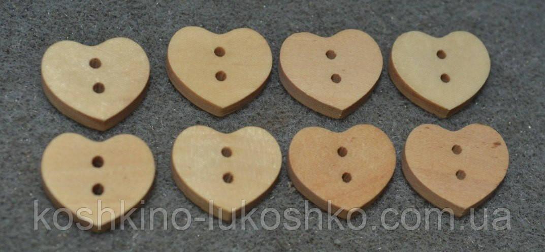 Пуговица деревянная. сердце.15 *18 мм
