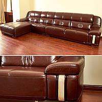 Кожаный диван коричневый - Элитный угловой диван