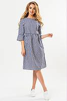 Платье с бантиками на спине в темно-синюю клетку, фото 1